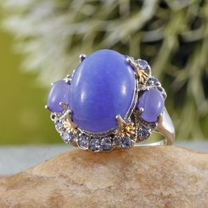 NEW Size 7 Burmese Purple Jade & Tanzanite Ring